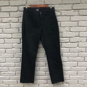 NYDJ Black Denim Straight Legged Jeans sz 10P